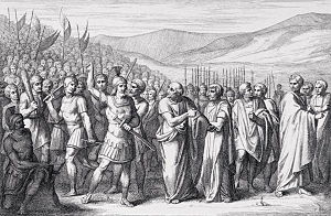 First secessio plebis - The Secession of the People to the Mons Sacer, engraving by B. Barloccini, 1849.