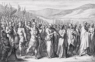 Tribune of the Plebs - The Secession of the People to the Mons Sacer, engraving by B. Barloccini, 1849.