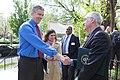 Secretary Duncan greets EPA Acting Admisitrator Bob Perciasepe at Mundo Verde Bilingual Charter School.jpg