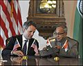 Secretary Tim Geithner with Finance Minister Pranab Mukherjee at Washington, D.C. 2011.jpg