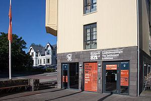Reykjavík 871±2 - The entry of The Settlement Exhibition Reykjavík 871±2 on Aðalstræti 16 in Reykjavík.
