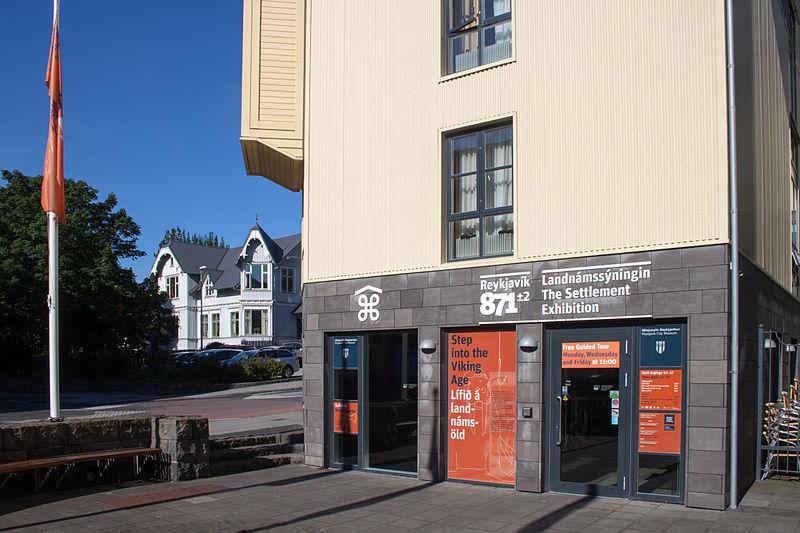 The entry of The Settlement Exhibition Reykjavík 871±2 on Aðalstræti 16 in Reykjavík.
