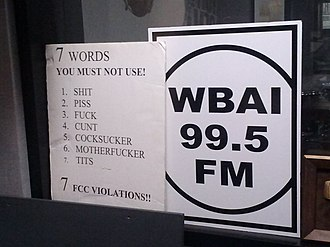 WBAI - A poster in a WBAI broadcast booth warns radio broadcasters against using the seven dirty words.