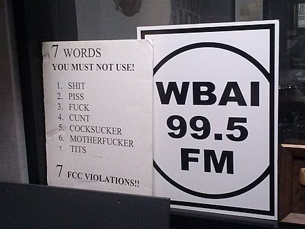 A poster in a WBAI broadcast booth which warns radio broadcasters against using the words
