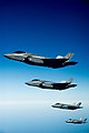 Several U.S. Air Force F-35A Lightning II aircraft assigned to the 58th Fighter Squadron, 33rd Fighter Wing fly in formation following an aerial refueling qualification mission over Eglin Air Force Base, Fla 130514-F-XL333-747.jpg