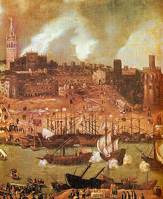 Spanish treasure fleet - A shipyard on the river Guadalquivir in 16th century Seville: detail from a townscape by Alonso Sánchez Coello
