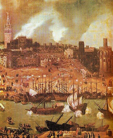 A shipyard on the river Guadalquivir in 16th century Seville: detail from a townscape by Alonso Sanchez Coello Sevilla XVI cent.jpg