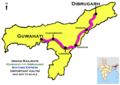 Shatabdi Express(Dibrugarh - Guwahati) Route map.png