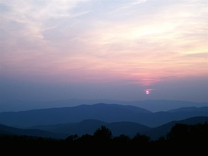 English: Sunset in Shenandoah National Park, V...