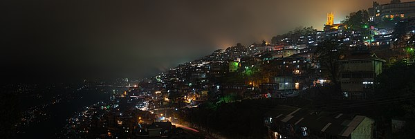 Night view of Shimla, India