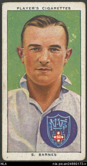 Sid Barnes - Cigarette card showing Barnes as a New South Wales representative
