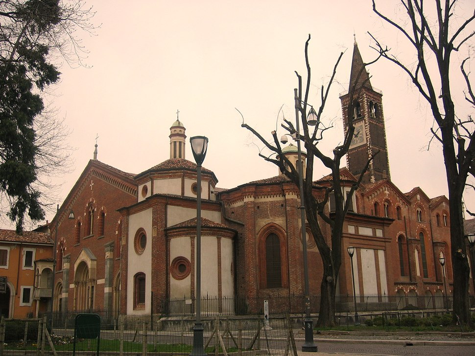 Side view of Saint Eustorgius Church in Milan