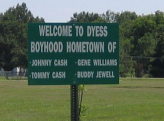 Dyess, Arkansas - Contemporary sign touting famous residents of Dyess.