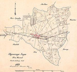 Skævinge - Map of the parish of Skævinge in 1889