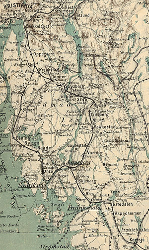 Østfold Line - Map of the Smaalenene Line in 1884; the line still follows the same route.
