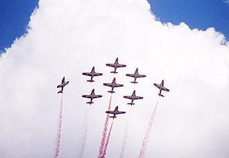 Snowbirds - The Snowbirds flying their 1000th official show at CFB Edmonton (Namao), 20 May 1990. Coloured smoke was used during major performances that year.
