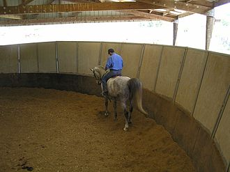 Equestrian facility - A solid-walled round pen, used for schooling