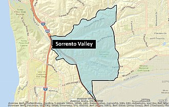Sorrento Valley, San Diego - Image: Sorrento Valley Neighborhood Map