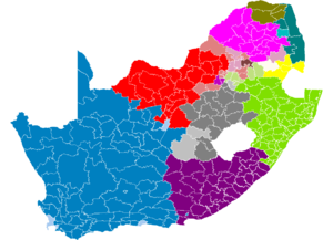 Map showing principal South African languages by municipality. Lighter shades indicate a non-majority plurality.          Afrikaans       Northern Sotho       Southern Sotho       Swati       Tsonga        Tswana       Venda       Xhosa       Zulu