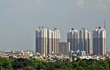 A skyline consisting of several high-rise buildings