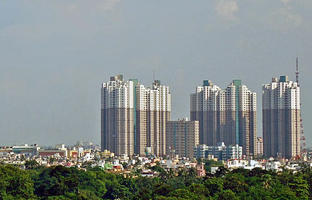 Residential high-rise buildings in South City South City Towers, Kolkata.JPG