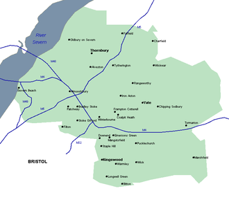 South Gloucestershire - Map of South Gloucestershire; the blue lines are motorways.