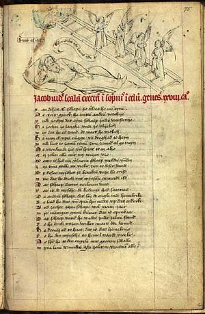 Typology (theology) - Jacob's Ladder from a Speculum Humanae Salvationis c. 1430, pre-figuring the Ascension above