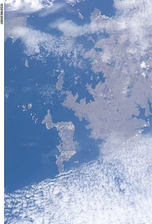 Speedwell Island - Satellite photo with Speedwell Island just below and to left of center