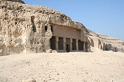 The rock cut temple of Pakhet by Hatshepsut
