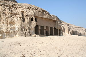 Pakhet - The rock cut temple of Pakhet by Hatshepsut in Speos Artemidos.
