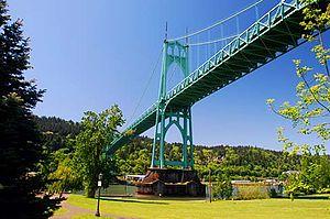 St. Johns, Portland, Oregon - Image: St. Johns Bridge (Multnomah County, Oregon scenic images) (mul DA0038b)