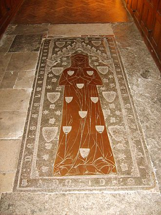 Wimple - Monumental brass of Margaret, Lady Camoys (d.1310), St George's Church, Trotton, West Sussex. This is the earliest surviving brass of a female figure in England. She wears around her neck a wimple (or gorget) which hides the chin and sides of the face. This style of dress continued in fashion until the end of the reign of King Edward III (1327-1377)