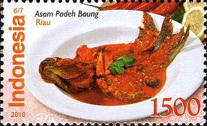 Asam pedas - Asam padeh baung from Riau in Indonesian stamp