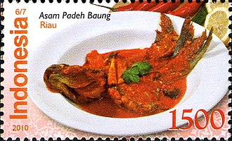 Asam pedas - Asam padeh baung from Riau on an Indonesian stamp