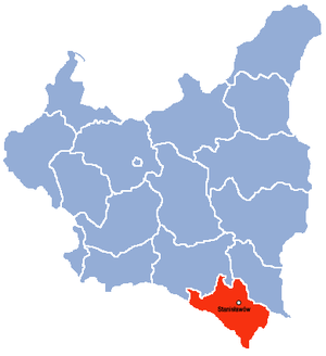Stanisławów Voivodeship - Location of  Stanisławów Voivodeship (red) within the Second Republic of Poland (1938).