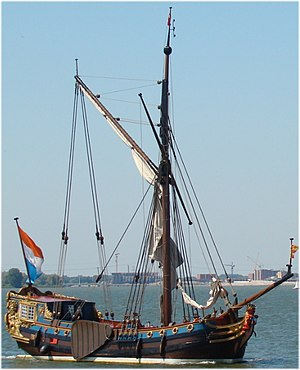 Prince's Flag - Reconstructed 1746 ship 'De Utrecht', flying the Prince's flag