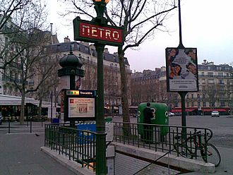Architecture of the Paris Métro - Entrance to Trocadéro station showing totem in interwar style