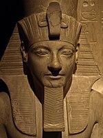 StatueOfHoremhebAndTheGodHorus-DetailOfHoremheb01 KunsthistorischesMuseum Nov13-10.jpg