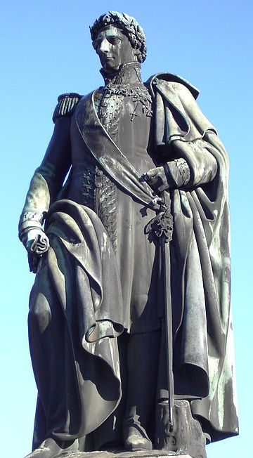 Statue in Norrkoping erected in 1846 Statyn av Karl XIV Johan Norrkoping april 2006.jpg