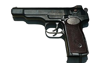 Stechkin automatic pistol - Left side of APS. Note the fire selector set on safe.