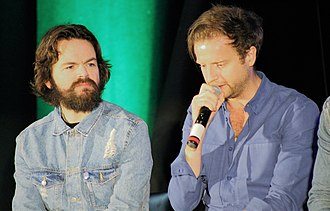Stephen Walters - Stephen Walters (L) and Andrew Gower (R) during a group panel at Creation Entertainment's Outlander convention in New Jersey on 19 August 2018.