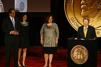 """Steve Kroft - Andy Cort, Maria Gavrilovic, Steve Kroft and Stephanie Palewski for 60 Minutes: """"The Co$t of Dying"""" at the 69th Annual Peabody Awards"""