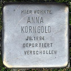 Photo of Anna Korngold brass plaque
