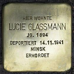 Photo of Lucie Glassmann brass plaque