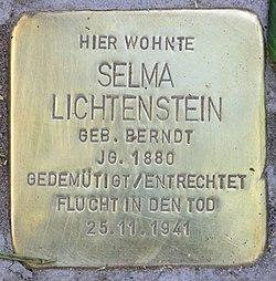 Photo of Selma Lichtenstein brass plaque