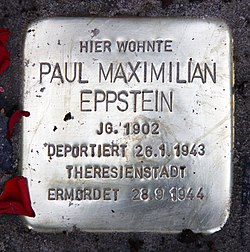 Photo of Paul Maximilian Eppstein brass plaque