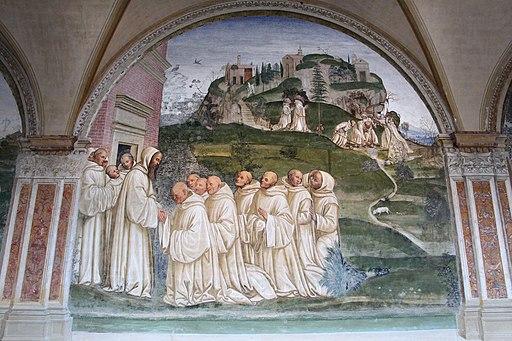 Il Sodoma, Storie di San Benedetto, 14 -  Come Benedetto pregato dai monaci produce l'acqua dalla cima di un monte