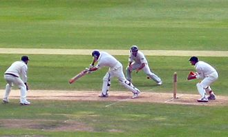 Wicket-keeper - Adam Gilchrist of Australia standing up to the stumps against England during the fourth test of the 2005 Ashes series in England.