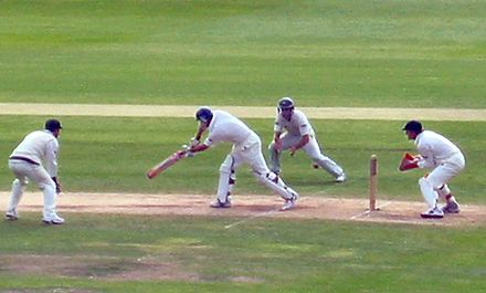 Adam Gilchrist of Australia standing up to the stumps against England during the fourth test of the 2005 Ashes series in England. Strauss dismissal.jpg