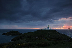 Strumble Head - Strumble Head, Ynys Meicel, Ynys Onnen and Lighthouse at sunset